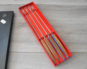 Vintage 60's Fondue Forks Set of Four Boxed - Bakelite and Faux Wood  Handled - Made in japan