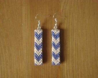 Band earrings ethnic style V Brazilian weaving cotton