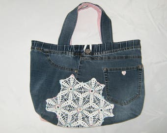 Blue Jean Purse, Blue & Pink Denim Purse, Upcycled Jean Purse, Upcycled Doily Jean Purse