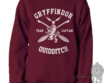 CAPTAIN - Gryffin Quidditch team Captain White print on Maroon Crew neck Sweatshirt