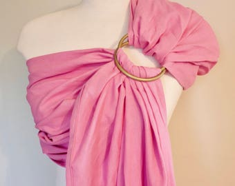 Pink Linen Sling - Baby Carrier -  Gold Sling Rings - Baby Sling - Linen Ring Sling - 100% Linen Ring Sling - Newborn Essentials - Canadian