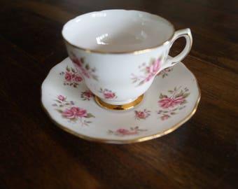 Colclough Teacup & Saucer, Pink Roses