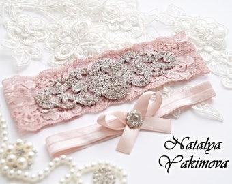 Wedding Garter Set, Bridal Garter, Crystal Garter, Rhinestone Garter, Toss Garter, bride's garter, forbride, wedding, white, ivory, pink