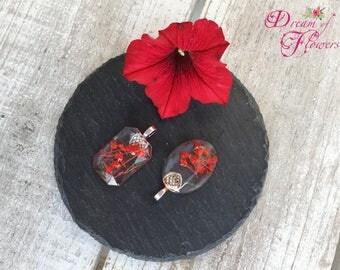 2 pendentis red flowers-resin/2 red flower Pendants