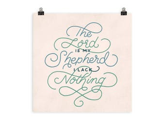 Psalm 23:1 The Lord is My Shepherd Hand Lettered Verse Print