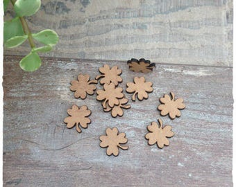 Set of 25 small clover blank diameter 2 cm thickness 3mm