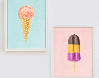 Art Print, Set of 2, Ice Cream Print, Kids Room Decor, Nursery Print, Popsicle Print, Girl's Room Decor, Watercolor Nursery, Wall Art