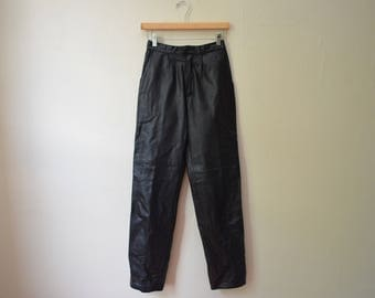 Vintage The Festival Coachella Burning Man Hipster Black Matte Genuine Real Leather High Waisted Pants Trousers Womens Size Medium
