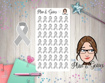 Grey Awareness Ribbon Stickers, Brain Cancer Awareness Ribbon, Grey Ribbon, Bullet Journal, Happy Planner, FUN-281