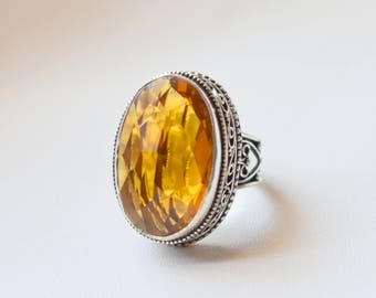Size 8.5 Vintage Style Citrine Ring - 925 Sterling Silver Ring - Citrine Quartz Ring - Women Jewelry gift #16