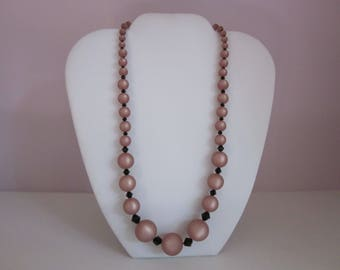 Beige and Black Beaded Necklace