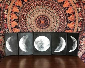 Set of five, moon phase set, moon phases, bohemian decor, la Luna set, boho chic