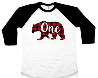 First Birthday Shirt - Buffalo Plaid - Lumberjack Birthday - Baby Bear - 1st Birthday - One - Bear Shirt - Baby Boy - Baby Girl - Birthday