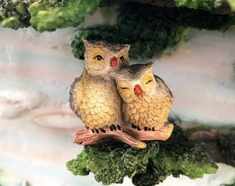 Miniature Owl Couple - Yellow and Brown