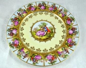 Hand painted plate, dessert plate, wedding plate