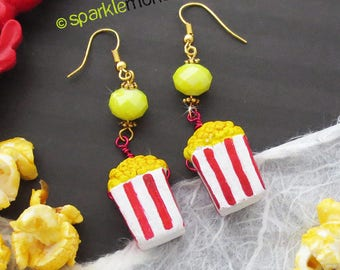 Movie Night - popcorn dangle earrings, red and white charms, round yellow crystal beads