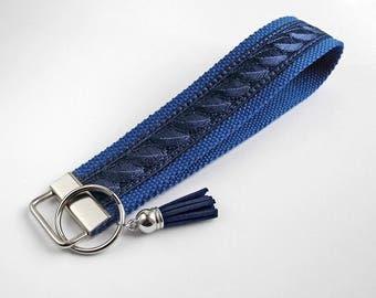 Blue Keychain Wristlet Key Chain, Dark Blue Key Fob, Wrist Lanyard, Blue Keyfob, Coworker-Gift, Gift for friend, Birthday Gift, Housewarming