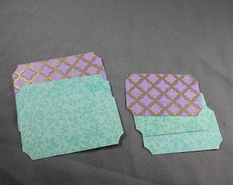 Scrapbook Die Cuts Label Set in Purple and Teal