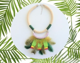 Tropical Necklace, Feather Necklace, Rope Jewelry, Festival Jewelry, Statement Necklace, Bib Necklace, Colorful Jewelry