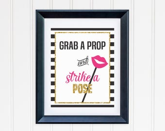 Grab a Prop and Strike a Pose Printable - Black and White Striped -  Inspired Wedding, Bridal Shower, Bachelorette Party