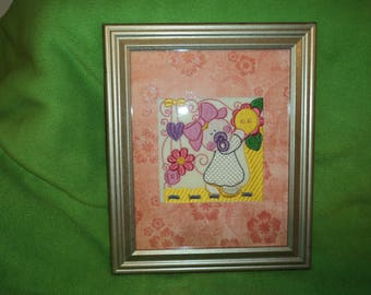 Embroidered new baby girl frame