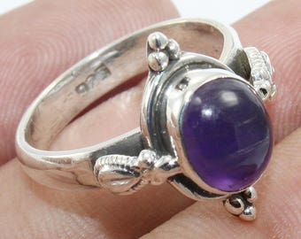 100% Solid 925 Sterling Silver Amethyst Handmade Jewelry Ring Size US 7.5""