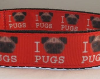 Pug Dog collar matching lead available I love My Pugs