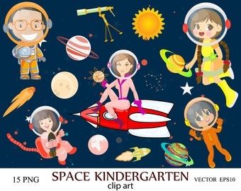 Space Kindergarten Clip art, Space clipart, Kids clipart, astronaut clipart, planets vector graphics, Space Wars Star Clipart, space rocket