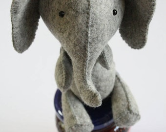 E is for Elephant: elephant sewing pattern, hand sewing pattern, elephant pattern, elephant toy, easy sewing pattern, elephant