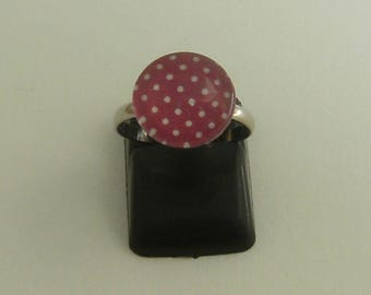 Pink polka dot child Adjustable ring (ba109) white