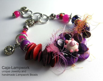 Flower Bracelet, Lampwork Flower, Pink, Purple, Adjustable Size, Ceramic, Silk