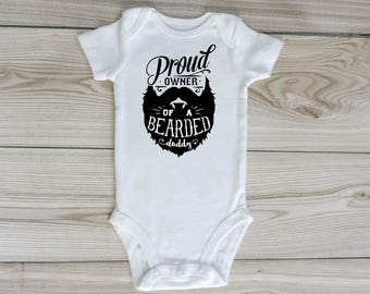Proud owner of a bearded daddy custom baby onesie