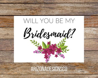 Will You Be My Bridesmaid Card   Bridesmaid Gift, Wedding Invite, Wedding Gift   Instant Download