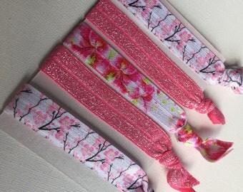 Mixed hair tie elastics -pink glitter floral blossom