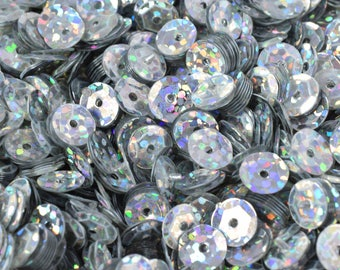 3/4/6mm Silver Sparkle Cup Glossy Iridescent Sequins Sheen Round Sequins/Loose Paillettes,Wholesale Sequins,Shimmering Sequin Apparel