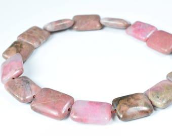 13x16mm Dusty Rose Agate Flat Rectangle Gemstone Beads 1 strand 24 PCs Size 15mm Hole Size 1.5mm Natural,Healing Chakra,Birthstone