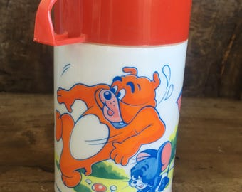 tom and jerry,retro flask,thermal flask, kitsch flask,1970s drinkware,70s cup,MGM,Aladdin,cartoon flask,retro bottle,soup cup,kawaii flask