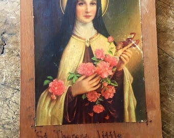 religious art,wooden plaque, St Theresa,kitsch religious,catholic art, crucifix,kitsch church art, religious wall art,Italian art,the saints