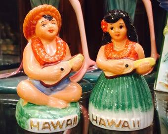 Hawaii Souvenir Hula Dancers playing Ukuleles Salt and Pepper Shakers circa 1950s