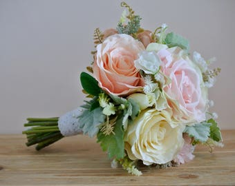 Pink & ivory bridesmaid bouquet