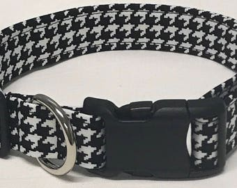 dog collar, houndstooth, houndstooth dog collar, houndstooth collar, female dog collar, female collar, black and white houndstooth