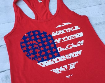 Fourth of July Running Tank, American Flag Tank Top, Group Shirt, 5K Shirt, Patriotic, 4th of July, Plus Size Workout Tank, America ID50T