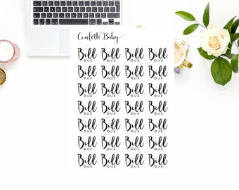 Planner Stickers, Bill Due, Reminder Stickers, Functional Stickers