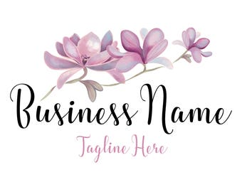 Photography logo, Custom logo design, magnolia flowers logo, flowers logo, purple blue flowers logo, magnolia pink purple photography logo
