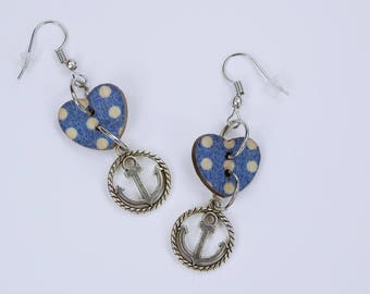 Earrings anchor and Blue heart-heart with white dots on silver-colored earrings wooden pendant earrings-Maritime Jewelry Home port