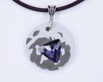 Necklace Concrete Black-white concrete jewelry with purple rhinestone stone triangular-concrete pendant on dark purple silk ribbon concrete Jewelry Grey