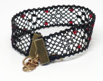 Spider's Web: Black Bobbin Lace Bracelet