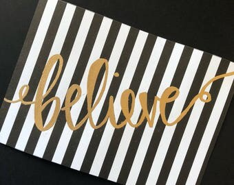 Believe gold embossed frameable