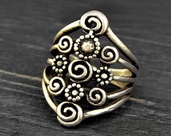 Gypsy Boho Ring, Adjustable Boho Ring, Antique Silver Ring, Ethnic Ring, Tribal Ring, Gypsy Ring, Large Ring, Gypsy Jewelry, Boho Chic