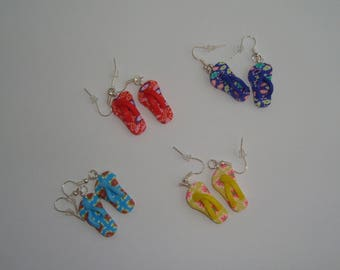 funny earrings in polymer clay pair of tong-Beach footwear - choose your color
